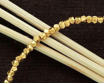 "75 of Karen hill tribe 24K Gold Vermeil Style Faceted Beads 2 mm. 6 "" :vm0071"