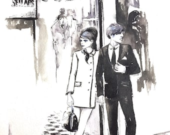 London Fashion Print from Original Watercolor Illustration - Travel London Watercolor by Lana Moes - Romantic Bliss Collection of Wanderlust