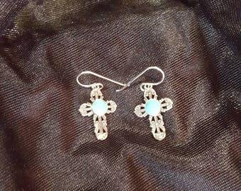 Kingman Turquoise cross earring