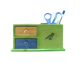 Desk Organizer office ,home,green and blue shades,2 Drawer,natural wood,handmade.