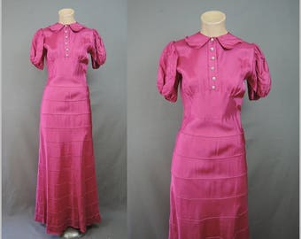 Vintage 1940s Pink Rayon Evening Gown XS Long Party Dress, 32 bust Dark Pink Taffeta