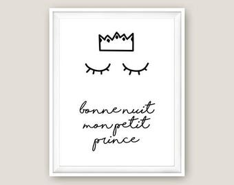 Bonne Nuit Mon Petit Prince – Goodnight My Little Prince / Nursery Wall Decor Digital Download