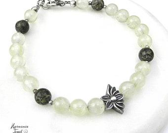 Heart Chakra Bracelet, Sterling Lotus Bracelet, Kundalini Bracelet, Prehnite and Serpentine Bracelet in Silver, Mala Style Bracelets, Green