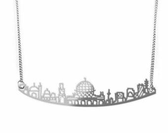 Silver Jerusalem Necklace, Jerusalem Jewelry, City Skyline, Statement Necklace, Israeli Jewelry