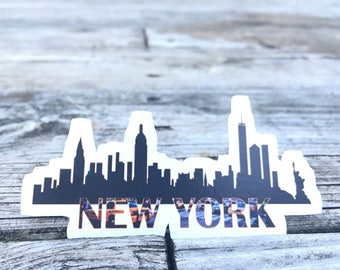 New York NYC City Skyline Silhouette Big Apple Handmade Vinyl Ink Magnet Sears Tower Empire State Building Statue of Liberty