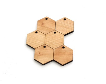 """Honeycomb Shape Wood Zipper Pulls - 1.25"""" Pack of 10 Laser Cut Hexagons from Sustainable Harvest Cherry Wood - Timber Green Woods USA"""