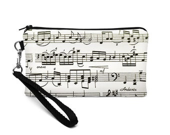 iPhone 8 Plus Clutch, Smartphone Clutch Wallet, Women's Errand Runner, Hands Free Phone Pouch -  black and white music notes