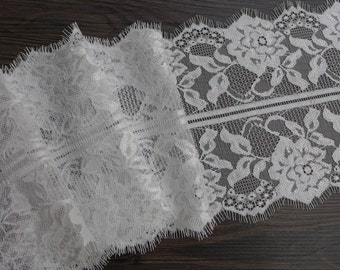 "6.7"" wide Delicate Off white Chantilly Lace Trim for Bridal attire and veils"