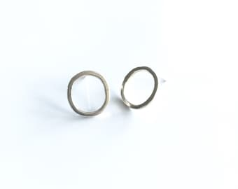 Sterling Silver Hammered Circle Stud Earrings