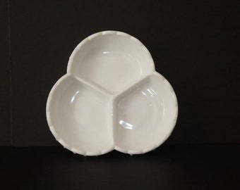 Anchor Hocking milk glass, candy dish, condiment dish, three section dish, hobnail. wedding white milk glass, collectible glass