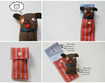 Dog Cuff Critter - Tiny Plushie - Stocking Stuffer - Tween Kid Gift - Plush - Doggy - Pocket-Sized - Upcycled - Puppy - Mini Pet - Easter