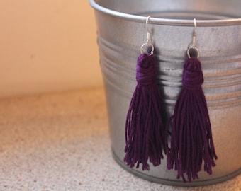 Handmade Plum Purple Tassel Earrings