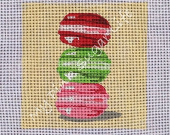 Hand Painted French Macarons Needlepoint Canvas by MyPinkSugarLife