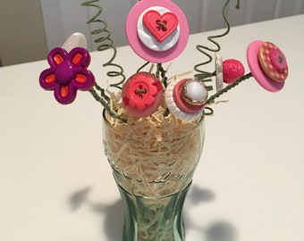 Small Coca-Cola Glass Flower Button Bouquet - Pink