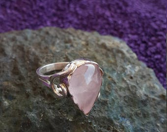 Rose Quartz Ring Handmade & Silver