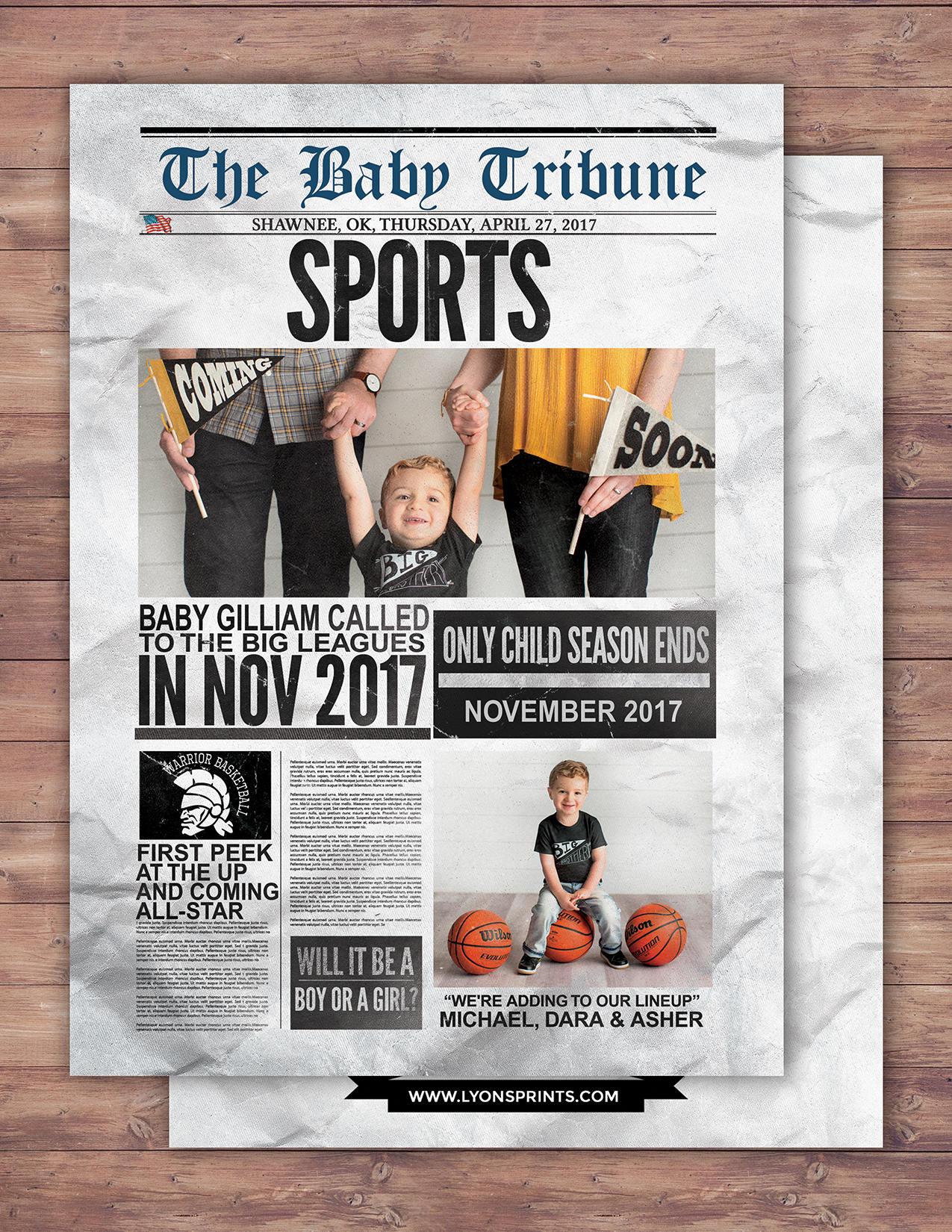 newspaper pregnancy announcement birth announcement baby