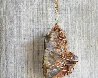 Raw Australian Fire Opal Wire Wrapped Pendant