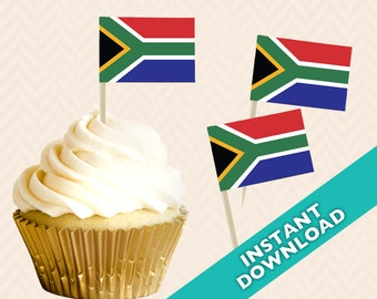 South Africa Flag Toothpick Party Decoration - South African Party Food Flag, DIY printable food flag, cupcake topper
