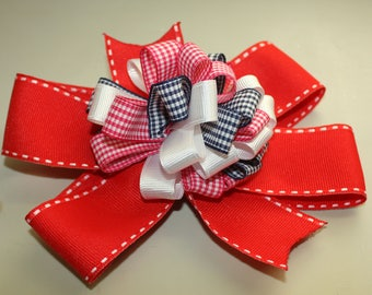 Red Hair Bow, French Barrette, Flower loops in center, Girls Hair Bow