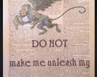 Wizard Of Oz Flying Monkeys Quote Vintage Dictionary Print Page Print Picture Wall Art Dorothy