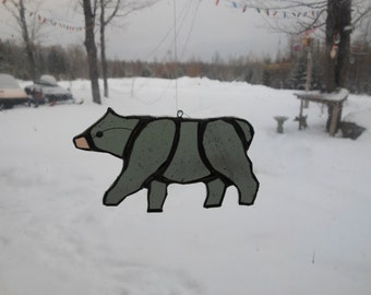 bear sm, stained glass suncatcher