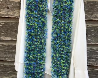 Mohair blue & green scarf