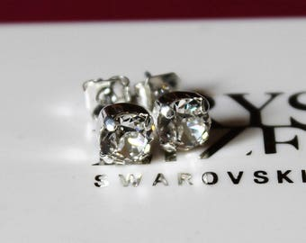 Silver Plated Clear Stud Earrings made with Swarovski Crystal Elements and Surgical Steel Posts by Lady C Jewellery