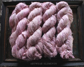 Pure Sari Silk, Light Vanity Pink, 100g Skein, Recycled Sari Silk, Fair Trade, Fabric, Ribbon, Yarn, Lt Pink Ribbon, ArtWear Elements 221A