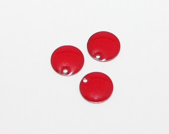 3 x red sequin enamelled