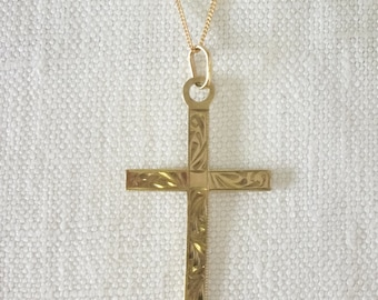 Vintage 9ct Gold Engraved Cross Pendant with Chain
