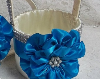 Flower Girl Basket, Ivory with a Turquoise Satin Flower and Rhinestone Mesh handle and Trim