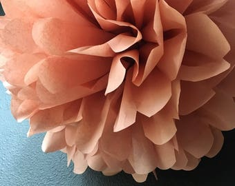 ROSÉ tissue paper pompom baby bridal shower luncheon rose gold copper wedding decorations wine tasting party french paris birthday bohemian