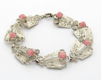 Pink Rhodochrosite & 835 Silver Bracelet, Nordic Modernist Design Jewelry - 1970s Vintage Artisan Jewelry, Healing Gemstone Bracelet