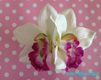 White and Purple Orchid Hair Clip//Wedding Hair Flower//Bridal Hair Accessory//Tiki Hair Clips