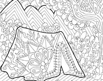 Camping coloring | Etsy