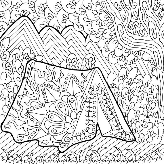Printable coloring page zentangle camping coloring book for Camp coloring pages