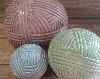 Custom Cremation Urn - Stoneware Cremains Jar - BALL OF YARN