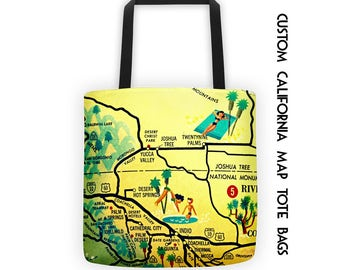 Custom California Map Tote Bag, Travel Gift,  San Diego Gifts, Los Angeles Gifts Palm Springs Wedding Gifts California Beach Bag Tote