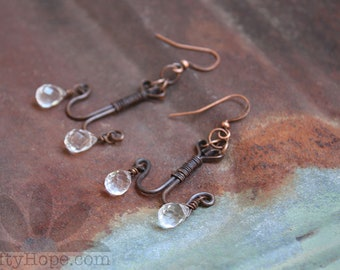 Copper Chandelier Earrings - antiqued copper wire, wire wrapping, faceted crystal clear glass earrings