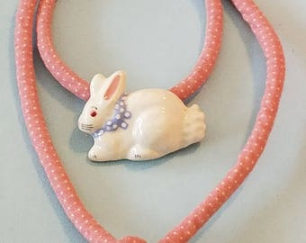 Vintage Flying Colors Ceramic Bunny necklace, flying colors bunny, ceramic bunny