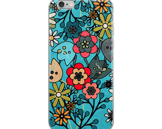 Featured listing image: Floral Pop Frenzy in Cerulean Flower Power Mod Retro Sixties Inspired Tamer Animals iPhone Case