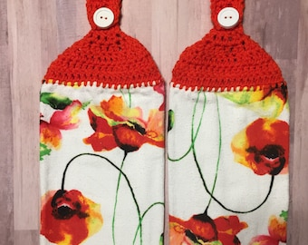 Crocheted Top Dish Towels -  Orange Flowers, 2-Pack