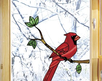 CLR:WND - Cardinal Bird Perched on Branch - Stained Glass Style See-Through Vinyl Decal for Windows ©YYDC (Size Choices)