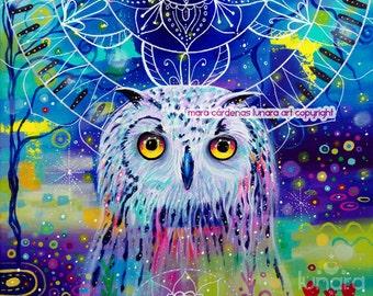 Owl Medicine Mandala - Original acrylic painting