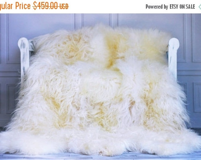ON SALE Exclusive Genuine Natural rare Icelandic Sheepskin Rug, Pelt, soft long fur Sexto