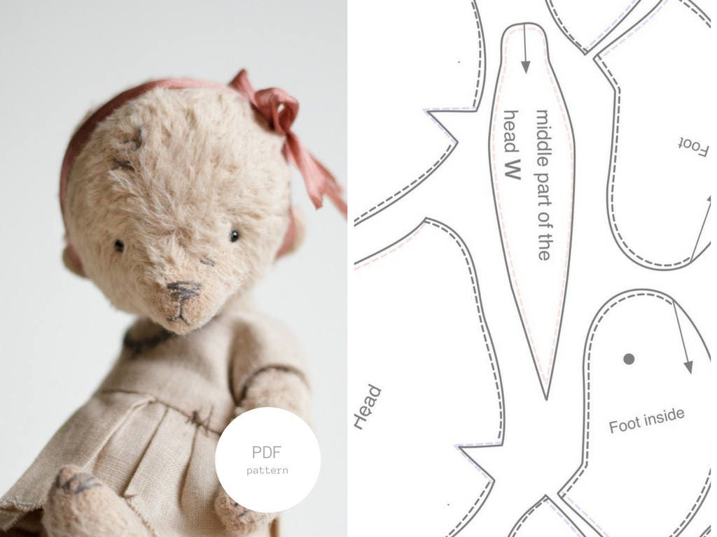 Pdf sewing pattern tutorial mohair teddy bear 6 inches artist this is a digital file jeuxipadfo Choice Image