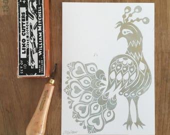Folk Art Peacock - A5 hand printed lino cut in gold