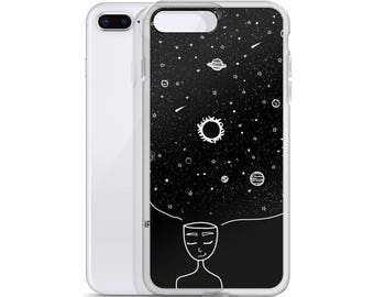 Galaxy in her Mind iPhone Cases Tumblr Hipster Grunge Aesthetic Stars Sun Moon Trippy Universe Rad Mindset Beautiful Mind