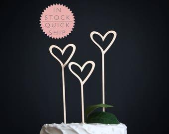 heart wedding cake topper | heart cake topper | wood cake topper | love cake topper | rustic cake topper | hearts wedding cake topper