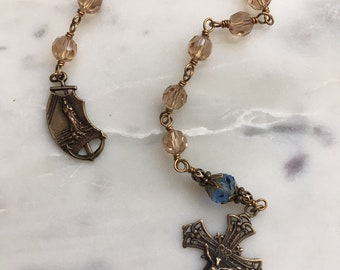 Stella Maris Pocket Rosary - Crystal and Bronze - First Communion - Confirmation - Wire-wrapped
